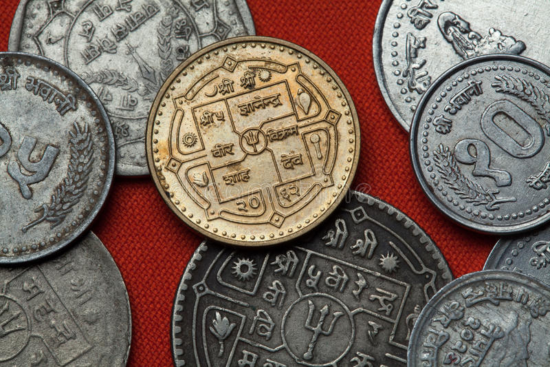 Νομίσματα του Νεπάλ στοκ εικόνα με δικαίωμα ελεύθερης χρήσης