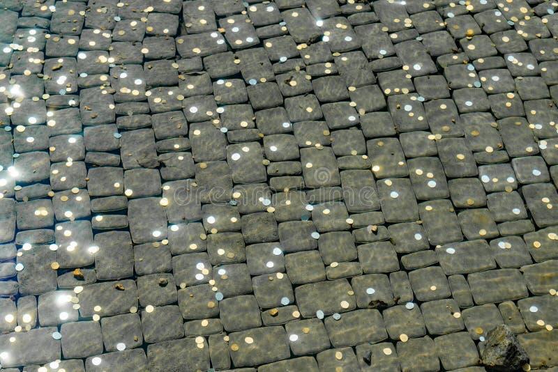 Νομίσματα χρημάτων στο νερό σε μια μεγάλη πόλη τουριστών στο πάρκο στοκ εικόνες με δικαίωμα ελεύθερης χρήσης