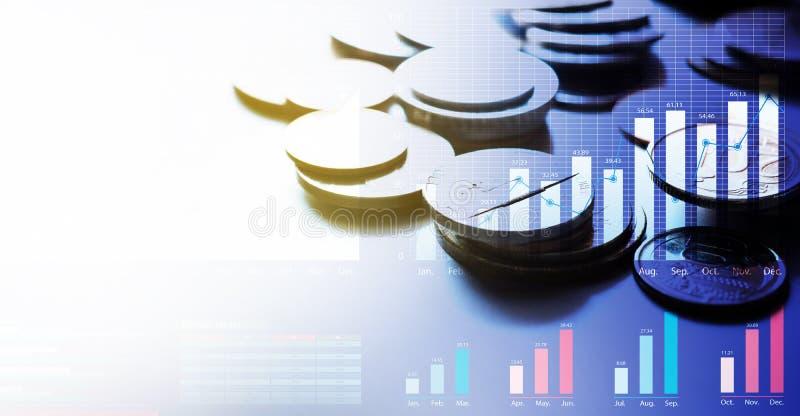 Νομίσματα χρημάτων Τραπεζικές εργασίες χρηματοδότησης Εμπορική επένδυση αποταμίευση στοκ εικόνα με δικαίωμα ελεύθερης χρήσης