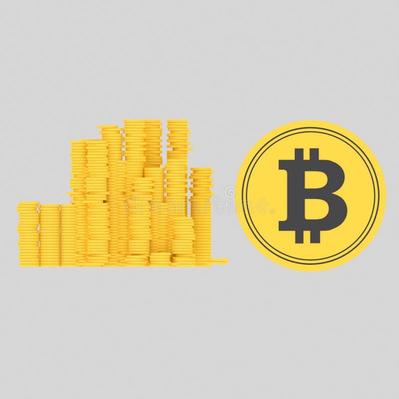 Νομίσματα Bitcoin τρισδιάστατος διανυσματική απεικόνιση