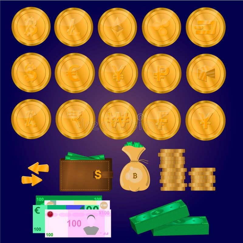 Νομίσματα Cryptocurrency, χρήματα, επιχειρησιακό σύνολο ελεύθερη απεικόνιση δικαιώματος