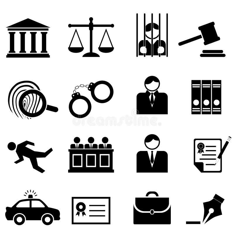 Νομικά, εικονίδια νόμου και δικαιοσύνης διανυσματική απεικόνιση