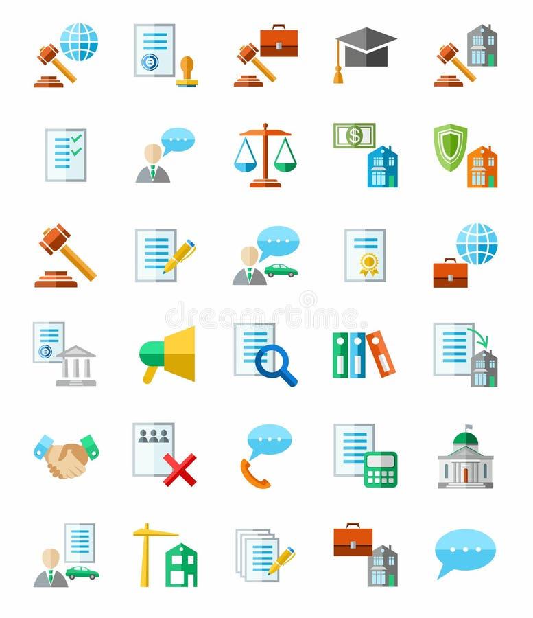 Νομικές υπηρεσίες, χρωματισμένα εικονίδια, άσπρο υπόβαθρο απεικόνιση αποθεμάτων