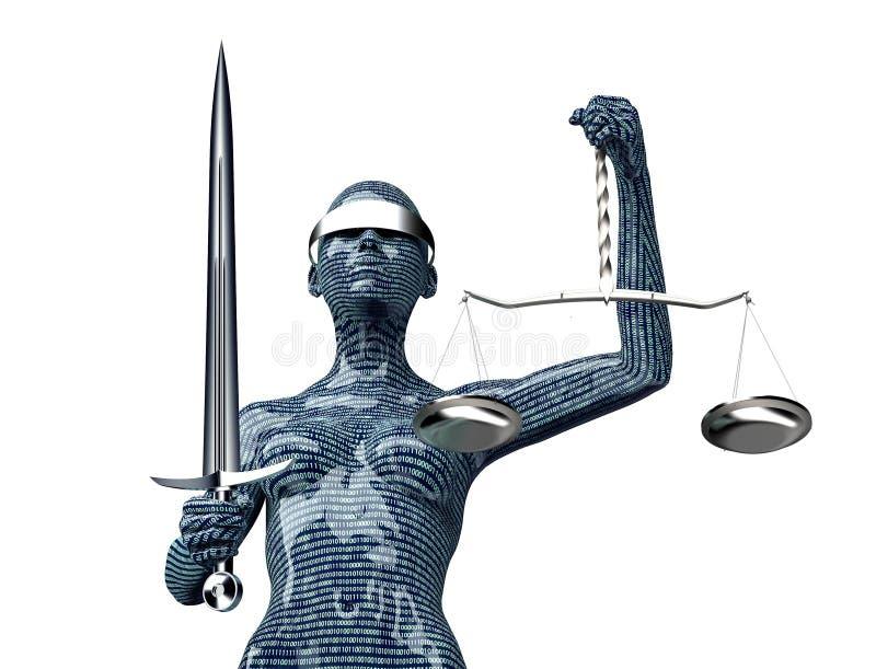 Νομική έννοια δικαστών υπολογιστών, γυναικεία δικαιοσύνη που απομονώνεται στο λευκό ελεύθερη απεικόνιση δικαιώματος