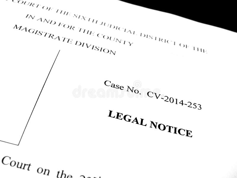 Νομική ειδοποίηση δίκης εγγράφων στοκ εικόνα με δικαίωμα ελεύθερης χρήσης