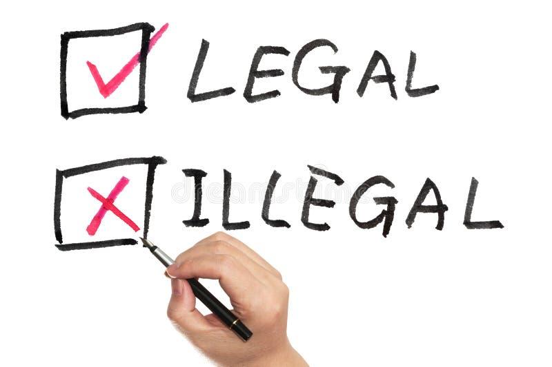 Νομικός ή παράνομος στοκ εικόνες
