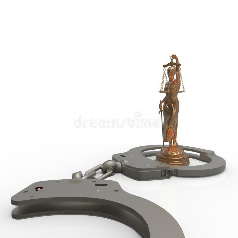 Νομικός νόμος - κλίμακες της δικαιοσύνης και της τρισδιάστατης απόδοσης χειροπεδών απεικόνιση αποθεμάτων