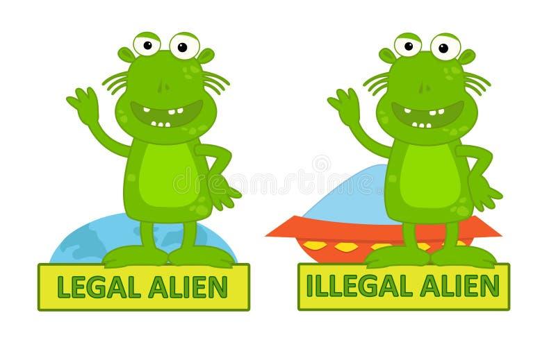 Νομικός παράνομος μετανάστης διανυσματική απεικόνιση