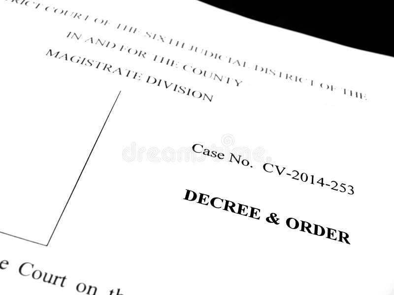 Νομικό διάταγμα και διαταγή εγγράφων στοκ εικόνες με δικαίωμα ελεύθερης χρήσης