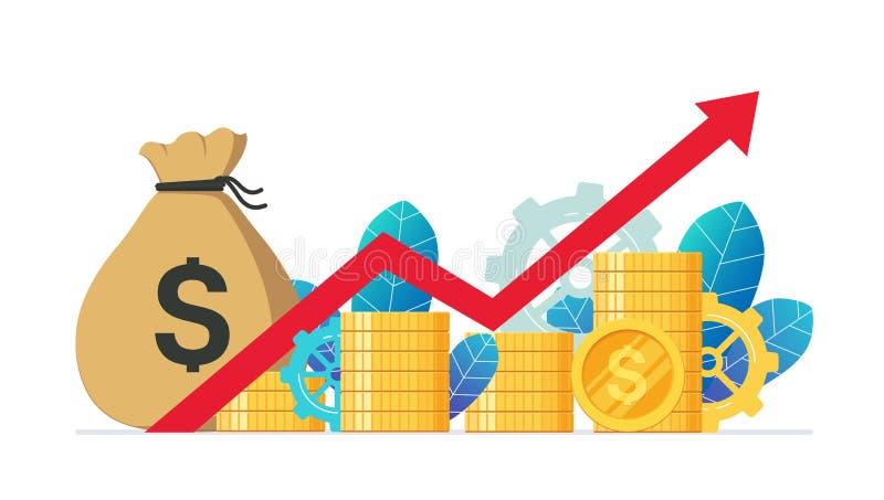 Νομισματική κόκκινη γραφική παράσταση κέρδους και ανάπτυξης επάνω Οικονομική ανάπτυξη, εισόδημα από τις επενδύσεις διανυσματική απεικόνιση