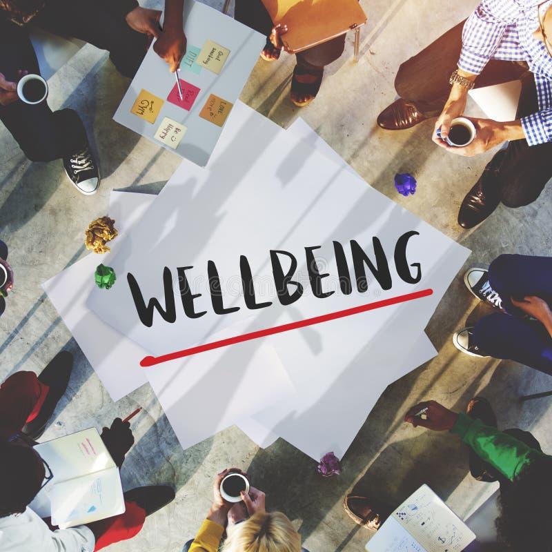 Νοοτροπία θετικής σκέψης ευημερίας που σκέφτεται την έννοια Wellness στοκ φωτογραφίες