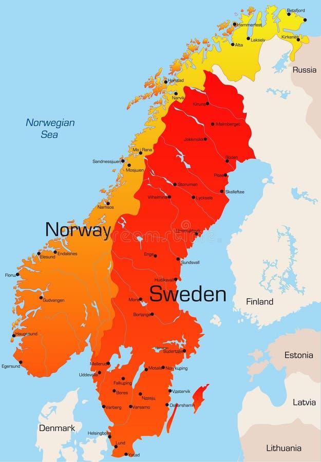 Νορβηγία και Σουηδία διανυσματική απεικόνιση