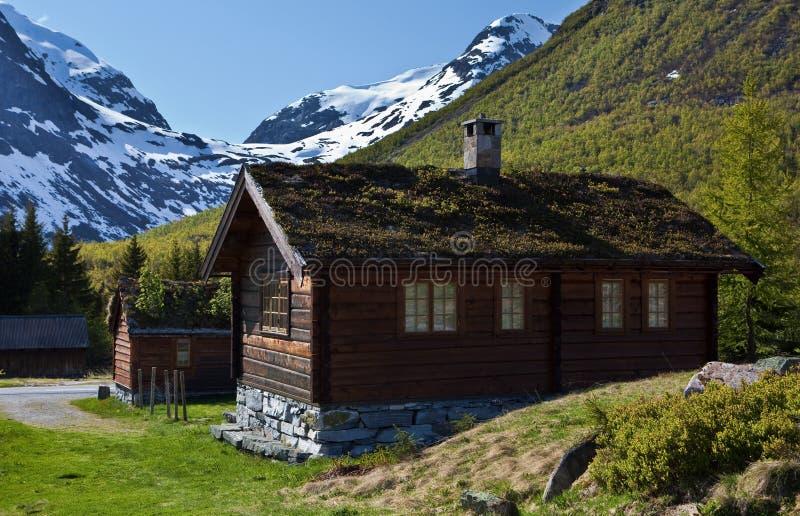 Νορβηγικά παραδοσιακά σπίτια στοκ εικόνες