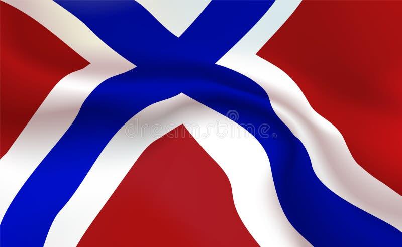 Νορβηγική σημαία υποβάθρου στις πτυχές Τρίχρωμο βασίλειο του εμβλήματος της Νορβηγίας Σημαία με την έννοια λωρίδων επάνω στενή, π απεικόνιση αποθεμάτων