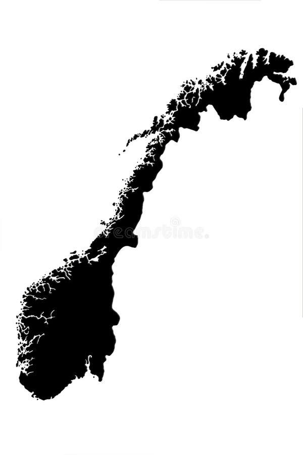 Νορβηγικός χάρτης που απομονώνεται στην άσπρη τρισδιάστατη απεικόνιση υποβάθρου απεικόνιση αποθεμάτων