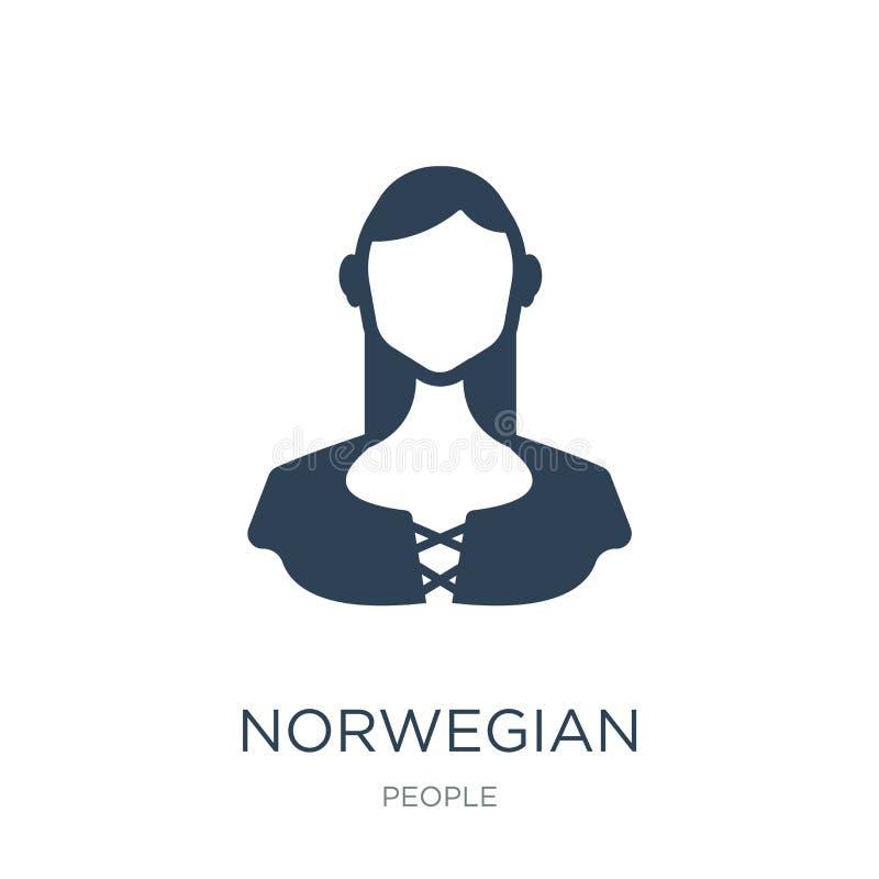 νορβηγικό εικονίδιο στο καθιερώνον τη μόδα ύφος σχεδίου νορβηγικό εικονίδιο που απομονώνεται στο άσπρο υπόβαθρο νορβηγικό διανυσμ απεικόνιση αποθεμάτων