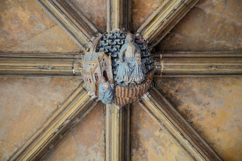 ΝΟΡΓΟΥΙΤΣ, UK - 5 ΙΟΥΝΊΟΥ 2017: Γλυπτός προϊστάμενος στο ανώτατο όριο του μοναστηριού στον καθεδρικό ναό του Νόργουιτς στοκ φωτογραφίες με δικαίωμα ελεύθερης χρήσης
