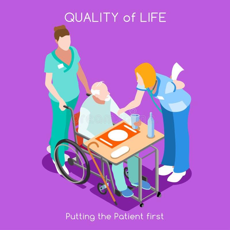 Νοσοκομείο 04 άνθρωποι Isometric διανυσματική απεικόνιση