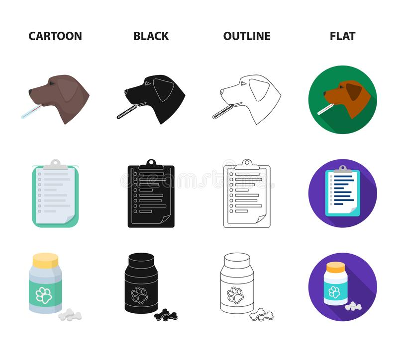 Νοσοκομείο, κτηνίατρος, σκυλί, θερμόμετρο Καθορισμένα εικονίδια συλλογής κλινικών κτηνιάτρων στα κινούμενα σχέδια, ο Μαύρος, περί ελεύθερη απεικόνιση δικαιώματος