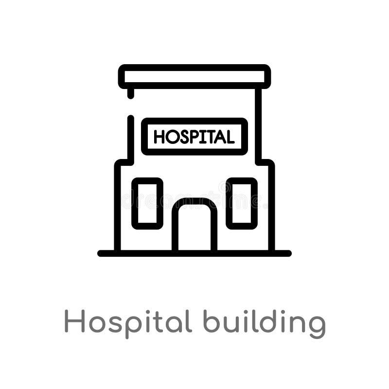 νοσοκομείο περιλήψεων που χτίζει το μπροστινό διανυσματικό εικονίδιο απομονωμένη μαύρη απλή απεικόνιση στοιχείων γραμμών από την  ελεύθερη απεικόνιση δικαιώματος