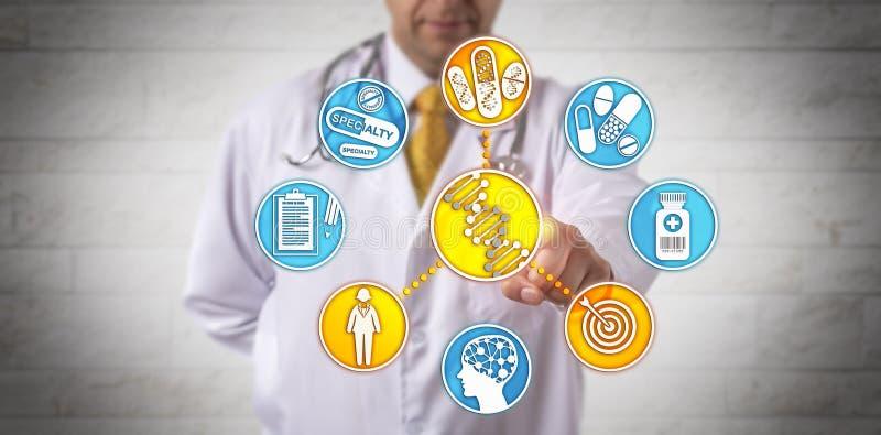 Νοσοκομειακός γιατρός που παραδίδει την υγειονομική περίθαλψη μέσω της ανάλυσης DNA στοκ εικόνες
