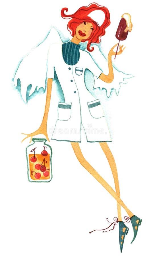 Νοσοκόμα αγγέλου διανυσματική απεικόνιση