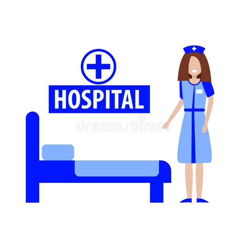 Νοσοκόμα και ιατρικό κρεβάτι r απεικόνιση αποθεμάτων