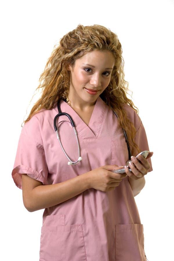 νοσοκόμα κινητών τηλεφώνων στοκ εικόνα