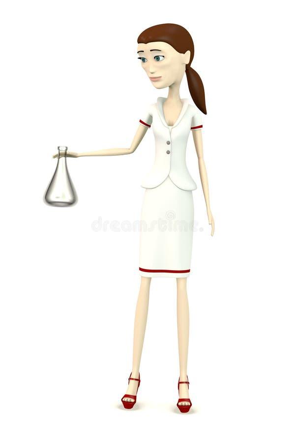 Νοσοκόμα κινούμενων σχεδίων με τη φιάλη εργαστηρίων ελεύθερη απεικόνιση δικαιώματος