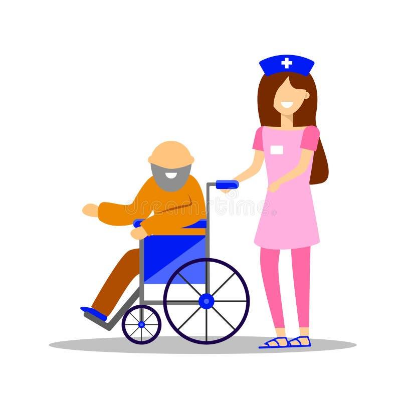 Νοσοκόμα με έναν ασθενή σε μια αναπηρική καρέκλα r απεικόνιση αποθεμάτων