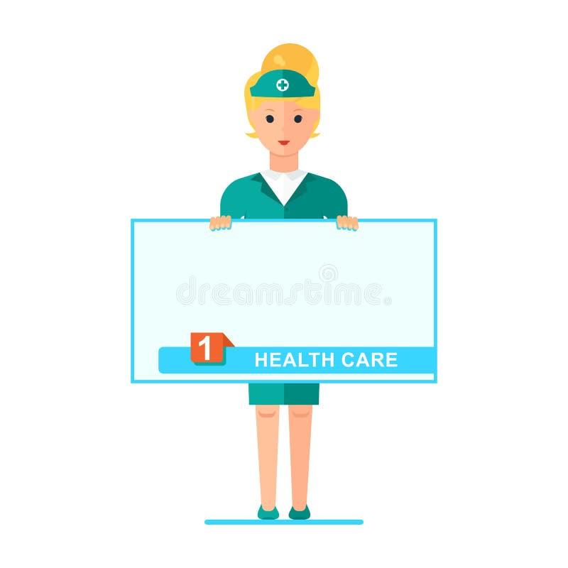 Νοσοκόμα με την αφίσα απεικόνιση αποθεμάτων