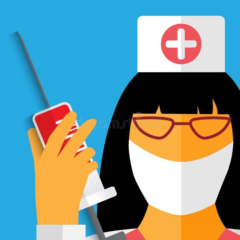 Νοσοκόμα με τον επίδεσμο γάζας διανυσματική απεικόνιση