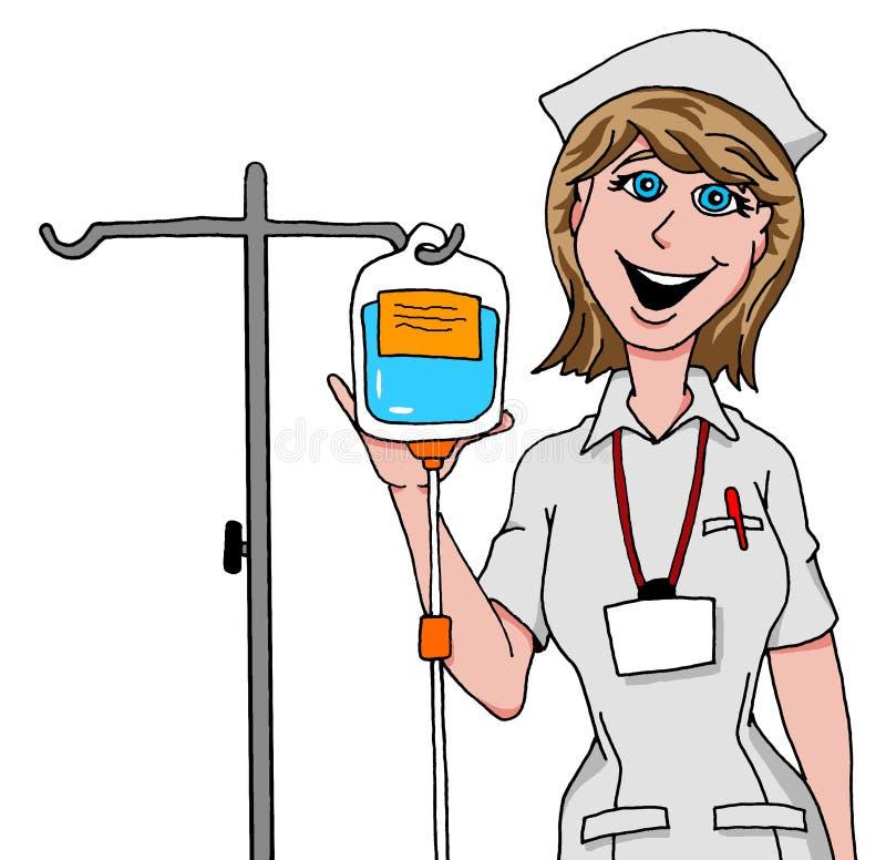 Νοσοκόμα που προετοιμάζει IV σταλαγματιά διανυσματική απεικόνιση