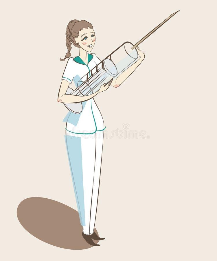 Νοσοκόμα που στέκεται με ελεύθερη απεικόνιση δικαιώματος