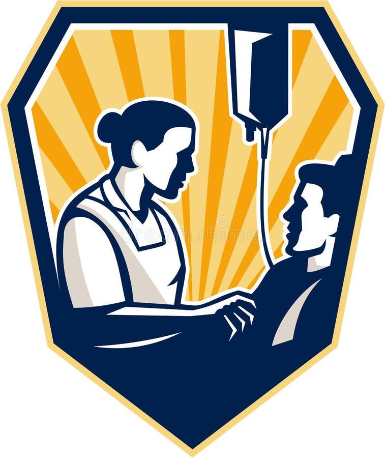 Νοσοκόμα που τείνει άρρωστο υπομονετικό αναδρομικό διανυσματική απεικόνιση