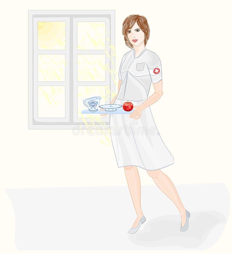 Νοσοκόμα που φροντίζει το διάνυσμα υγείας ελεύθερη απεικόνιση δικαιώματος