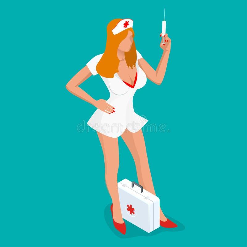 νοσοκόμα προκλητική Isometric άνθρωποι Όμορφη νέα νοσοκόμα στην ομοιόμορφη σύριγγα εκμετάλλευσης στεμένος που απομονώνεται στο μπ απεικόνιση αποθεμάτων