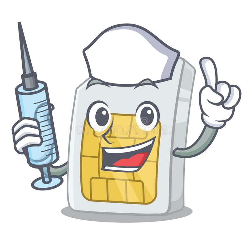 Νοσοκόμα simcard σε μια μορφή χαρακτήρα απεικόνιση αποθεμάτων