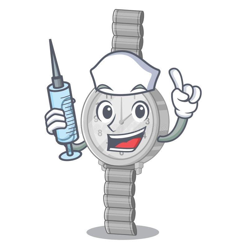 Νοσοκόμα wristwatch σε μια μορφή χαρακτήρα ελεύθερη απεικόνιση δικαιώματος