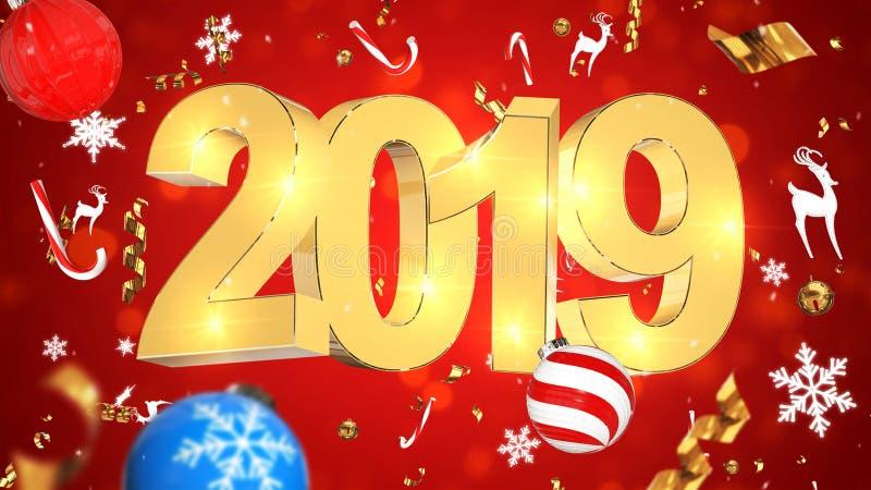 Νοσταλγική διακόσμηση Χριστουγέννων, χρυσό κείμενο 2019, κόκκινο υπόβαθρο με ζωηρόχρωμο tinsel, παιχνίδια Χριστουγέννων διανυσματική απεικόνιση