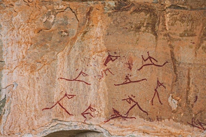 Νοτιοαφρικανική τέχνη βράχου κατοίκων του δάσους στοκ εικόνες