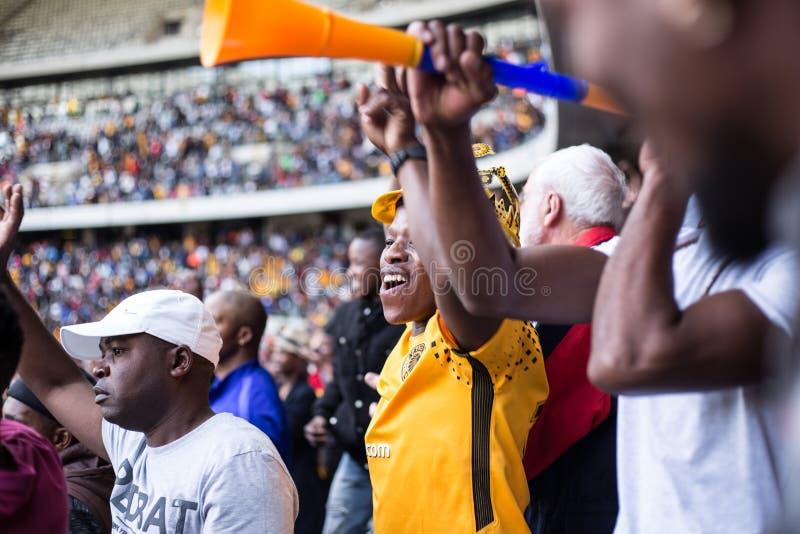 Νοτιοαφρικανικοί οπαδοί ποδοσφαίρου στοκ φωτογραφίες