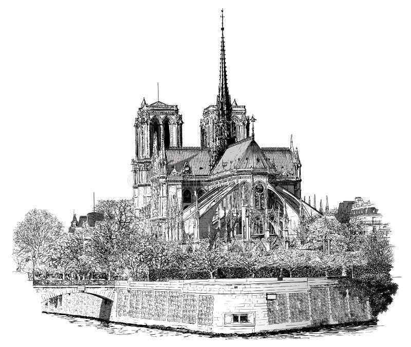 Νοτρ Νταμ στο Παρίσι απεικόνιση αποθεμάτων