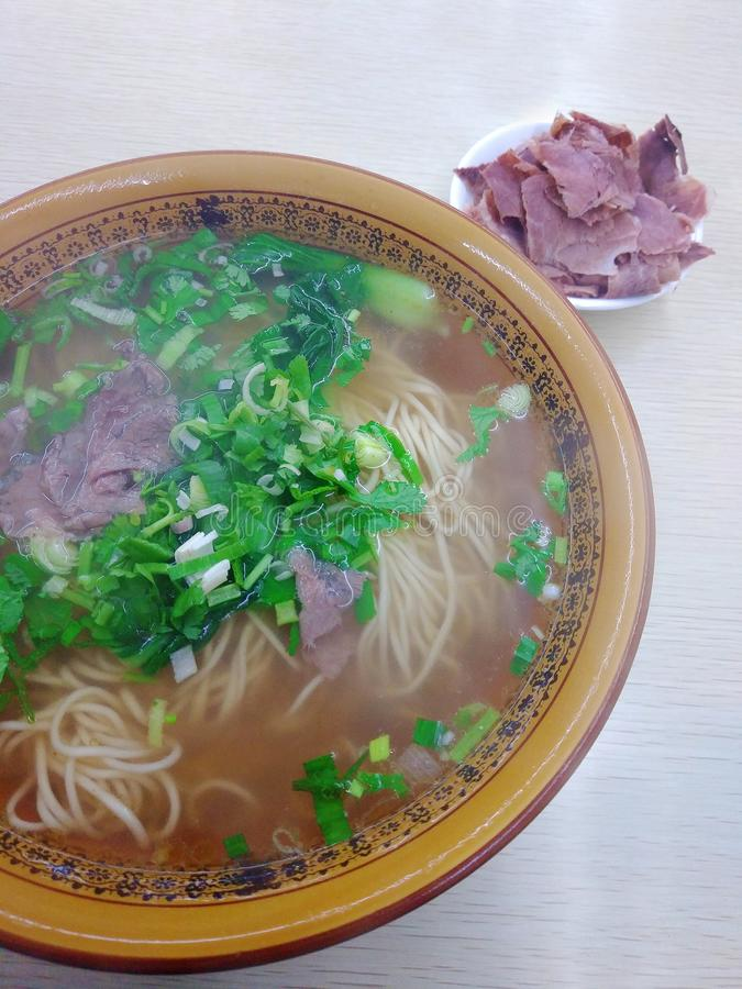 Νουντλς βόειου κρέατος Lanzhou, halal πιάτο από την Κίνα στοκ φωτογραφία