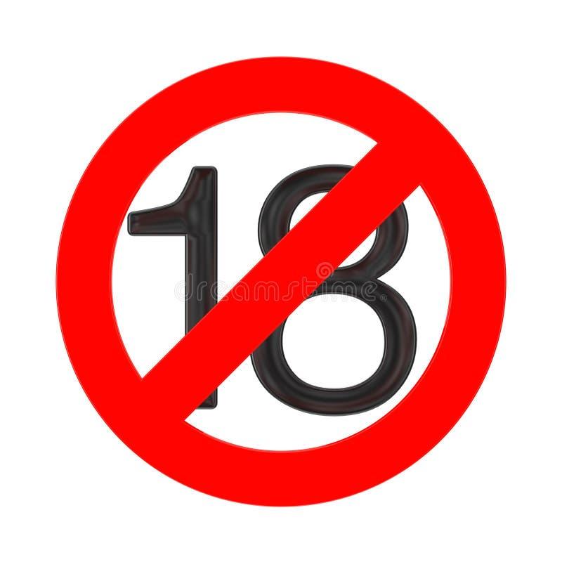 Νο 18 χρονών έννοια Κάτω από δεκαοχτώ έτη σημαδιών απαγόρευσης τρισδιάστατη απόδοση ελεύθερη απεικόνιση δικαιώματος