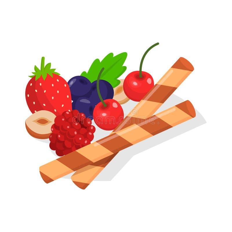 Ντεκόρ για τα τρόφιμα όπως τα φρούτα, μούρο, καρύδι, μπισκότο διανυσματική απεικόνιση