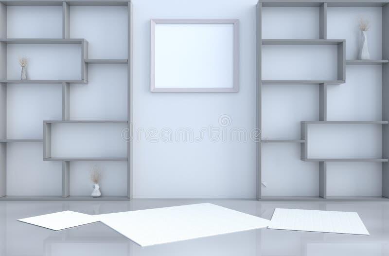 Ντεκόρ δωματίων διαβίωσης το άσπρο τρισδιάστατο δίνει διανυσματική απεικόνιση