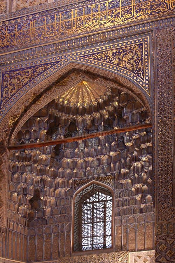 Ντεκόρ μαυσωλείων εμιρών του Ουζμπεκιστάν Σάμαρκαντ gur-ε στοκ εικόνα