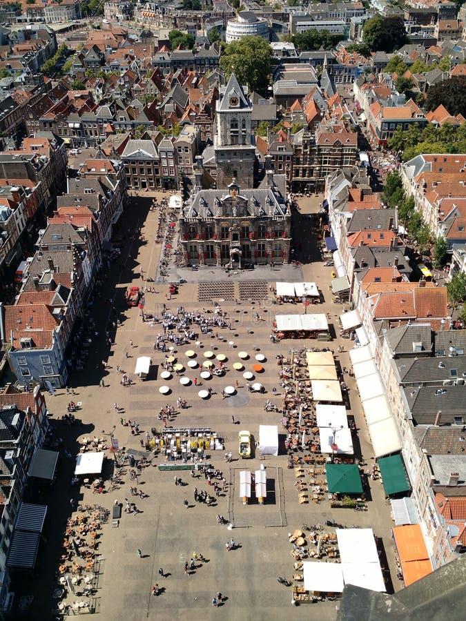Ντελφτ Markt που αντιμετωπίζεται άνωθεν στοκ φωτογραφίες με δικαίωμα ελεύθερης χρήσης