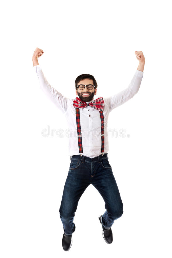 Ντεμοντέ άτομο που φορά suspenders το άλμα στοκ εικόνες